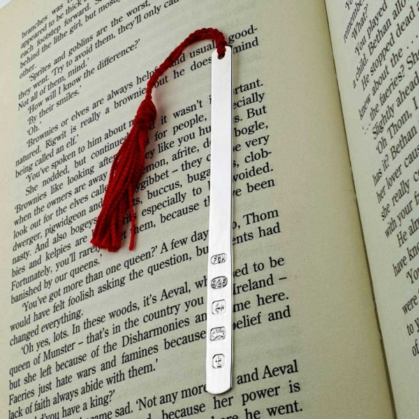Elegant Personalised Silver Bookmark In Gift Box with tassel for Readers, Book Lovers & Book Clubs. Handmade, hallmarked, sterling silver bookmarks.