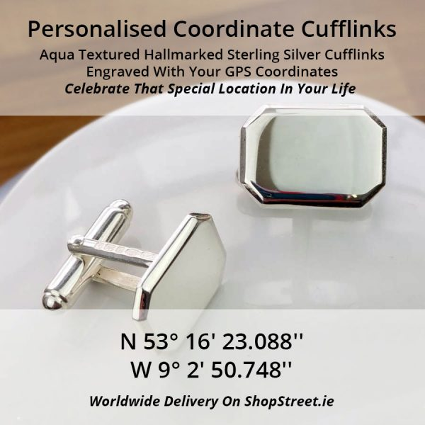 GPS Coordinate Silver Cufflinks Personalised For Sailors. Engraved Silver GPS Coordinates Cufflinks, Hallmarked & Handmade by our Cufflink Engraving team.