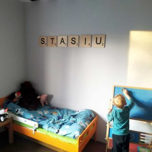 Large Wooden Scrabble Letter Wall Tiles Hand Painted for home, games room, family room, kitchen, bathroom, child's nursery, kids bedroom & playroom.