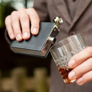 Personalised Polished Steel & Black Leather Hip Flask with FREE ENGRAVING. Stainless Steel & Leather Hip Flask in black gift box with discrete engraving Ireland