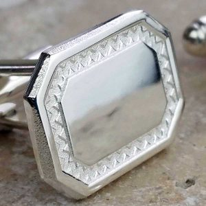 Silver Personalised Cufflinks For Men with Framed Mirror Finish. High Quality, Rectangular, Sterling Silver Cufflinks Handmade, Hallmarked & Engraved