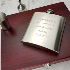 Best Man Hip Flask Personalised Gift Presentation Set with FREE ENGRAVING. Best Man, Groomsman & Groomsmen luxury presentation box, hip flask, shot cup & funnel