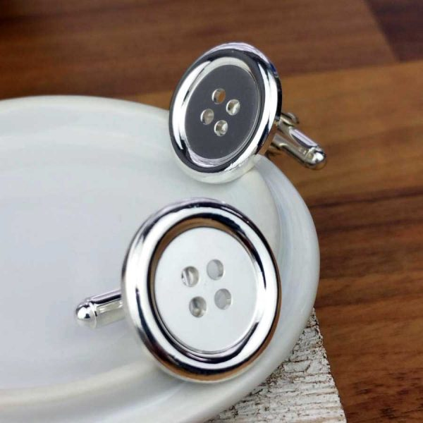 Silver Button Cufflinks For Men. Quality Hallmarked Round Button Sterling Silver Cufflinks Handmade To Order by our Cufflink team. Gift Wrapping Available.