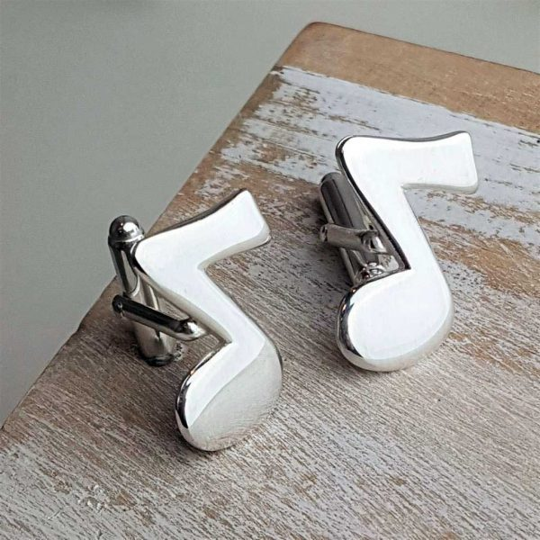 Music Note Silver Cufflinks For Musicians. Quality Hallmarked Sterling Silver Music Note Cufflinks Handmade To Order