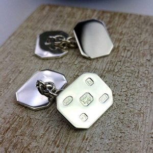 Personalised Hallmark Design Cufflinks In Sterling Silver. Handmade, Hallmarked Personalised Engraved Hallmark Design Silver Cufflinks in Cufflink Box.