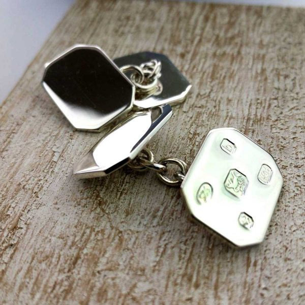 Personalised Hallmark Design Cufflinks In Sterling Silver. Handmade, Hallmarked Personalised Engraved Hallmark Design Silver Cufflinks in Cufflink Box.