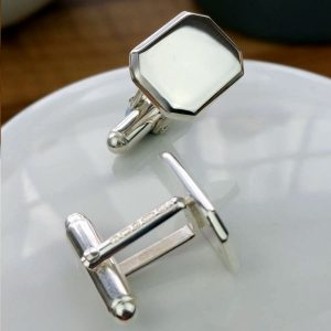Cufflinks - Mens Personalised Silver Cufflinks With Mirror Lozenge Design