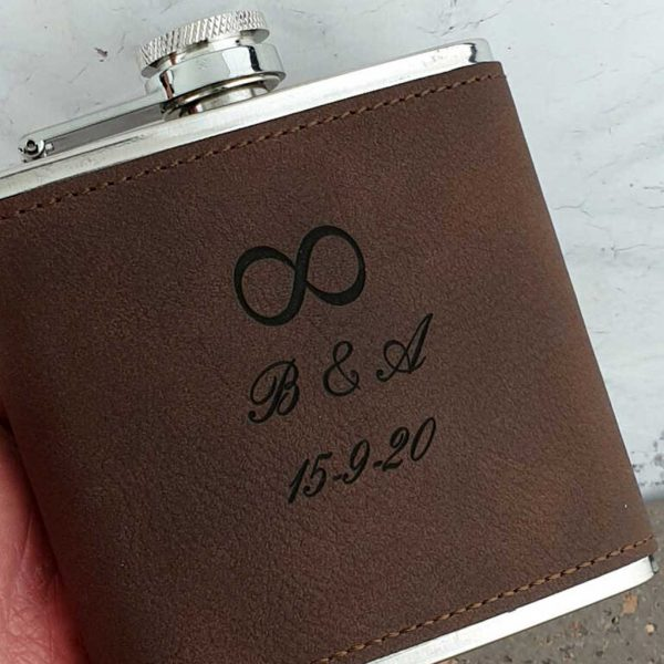 Soft Brown Leather Personalised Hip Flask With Infinity Symbol. Leather Hip Flask in black presentation box, ideal Wedding or Anniversary Infinity Gift Ireland