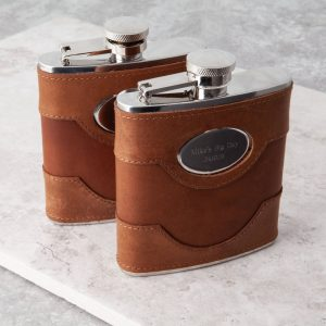 Personalised Light Brown Leather Hip Flask with FREE ENGRAVING. Quality Handmade Brown Spanish Leather Hip Flask with personalised engraving Ireland