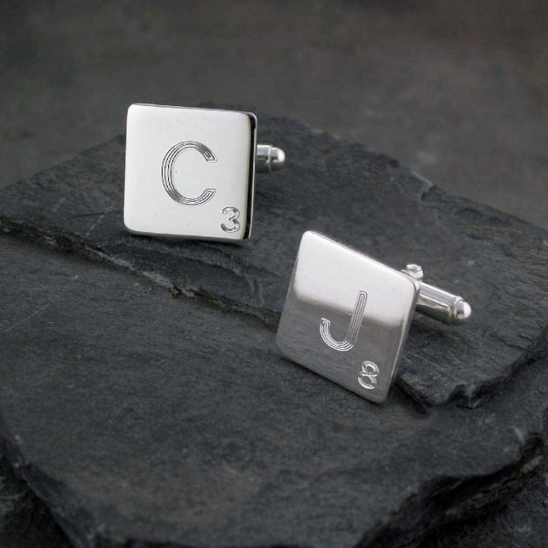 Scrabble Tile Monogram Silver Cufflinks For Men. Quality Hallmarked Sterling Silver Scrabble Tile Monogram Cufflinks Handmade To Order by our Cufflink team.