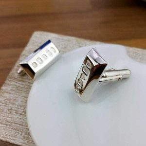 Silver Ingot Cufflinks For Men. Silver Bar Cufflinks Handmade To Order & Hallmarked Sterling Silver Ingot with Cufflink Gift Wrapping option.