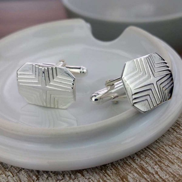 Star Stepped Rectangular Silver Cufflinks for Men. Nautical & Sailing, High Quality, Personalised Silver Cufflinks Handmade, Hallmarked & Engraved To Order.