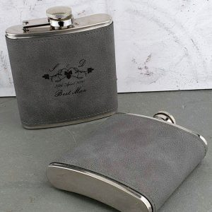 Soft Grey Leather Personalised Hip Flask With Leaf Design & FREE ENGRAVING. Leather Hip Flask in black presentation box for Horse Racing, Birthday & Wedding.