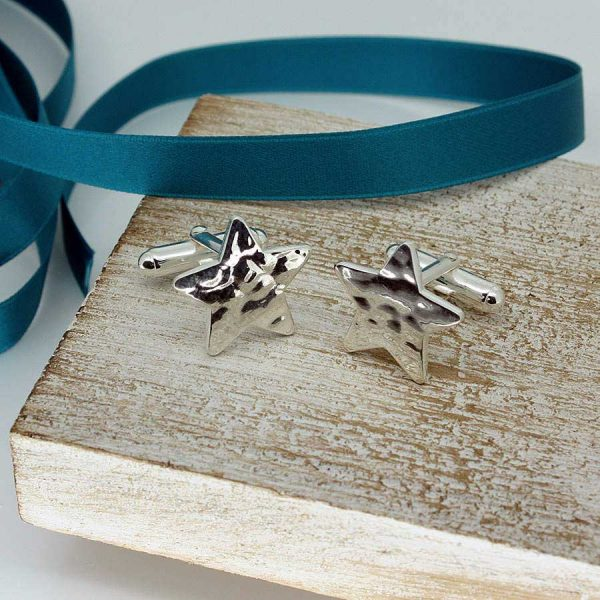 Silver Star Cufflinks For Men In Hammered Aqua Finish. Quality Hallmarked Sterling Silver Cufflinks Handmade by our Silver Cufflink team.