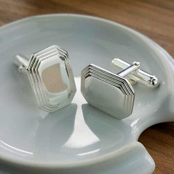 Mens Stepped Rectangular Silver Cufflinks with Mirror Finish. High Quality, Rectangle, Personalised Silver Cufflinks Handmade, Hallmarked & Engraved To Order