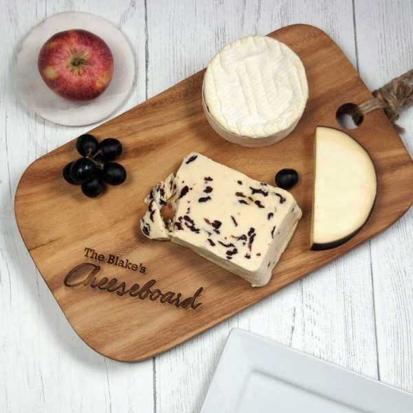 Personalised Cheeseboard Laser Engraved Acacia Wood. Laser engraved Name Personalised Cheeseboard with Rope Tie Handle and optional gift wrapping.
