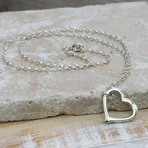 Heart Silver Necklace on Silver Chain For Valentines Day, Bride, Bridesmaid, Mother & Mother Of The Bride Pendant Necklace. Heart Necklace with Gift Wrapping.
