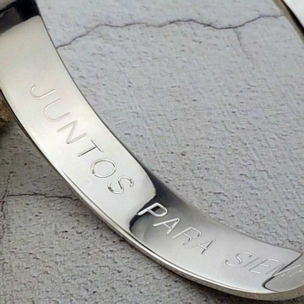 Personalised Ladies Silver Bracelet. Silver And Sapphire Personalised Ladies Bangle Engraved With Personal Message. Handmade & Hallmarked Silver Gift For Her.