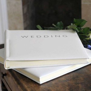 Wedding Album - Leather Wedding Album with 50 Hand-Bound Pages in Italian Pale Ivory Smooth Leather in sturdy Luxury Tissue Lined Presentation Box.