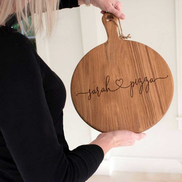 "Personalised ""Love"" Pizza Serving Board Paddle in Oak. 2 Names and Heart, Laser engraved script font Valentine/ Love Pizza Board with handle & jute rope."