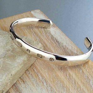 Silver Bangle Bracelet For Men. Mens Open Cuff Curved Silver Bangle Bracelet Personalised with Engraved Message. Handmade & Hallmarked Silver Gift For Him.