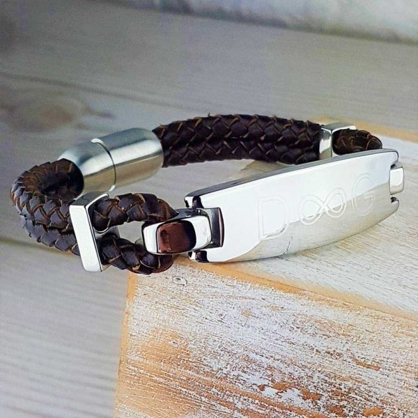 Personalised Mens Infinity Bracelet In Chestnut Brown Leather
