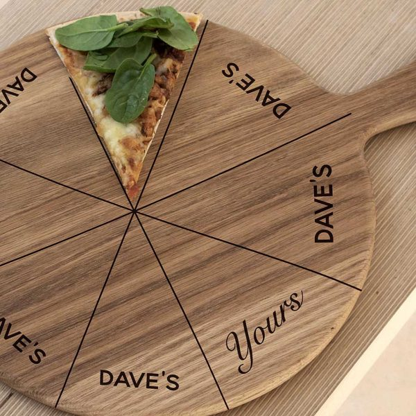 "Fun Personalised ""His & Hers"" Pizza Board with His Name Bagsing 7 Pizza Slices with one left for Yours. 12 inch Oak Pizza Board with Handle & Jute Rope hanger."