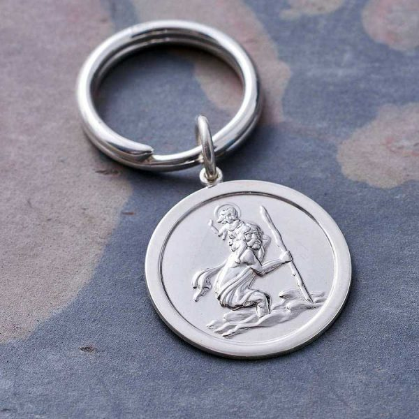 Personalised Silver St Christopher Key Ring. Hallmarked Sterling Silver Saint Christopher Key Ring / Key Fob with Free Personalised Engraving on the back.