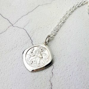 Personalised Silver St Christopher Necklace Pendant. Sterling Silver Saint Christopher Necklace Pendant with Free Personalised Engraving.