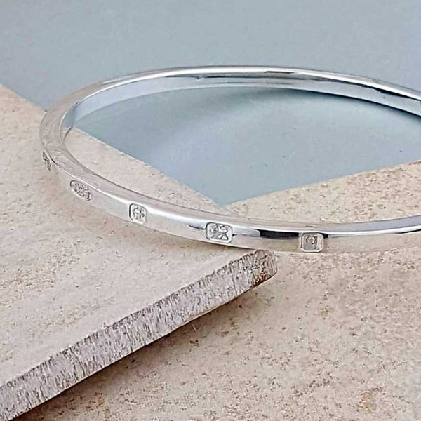 Personalised Square Edged Sterling Silver Bangle for Her. Silver Ladies Bangle Engraved With 3 to 5 Letters. Handmade & Hallmarked Gift For Her.