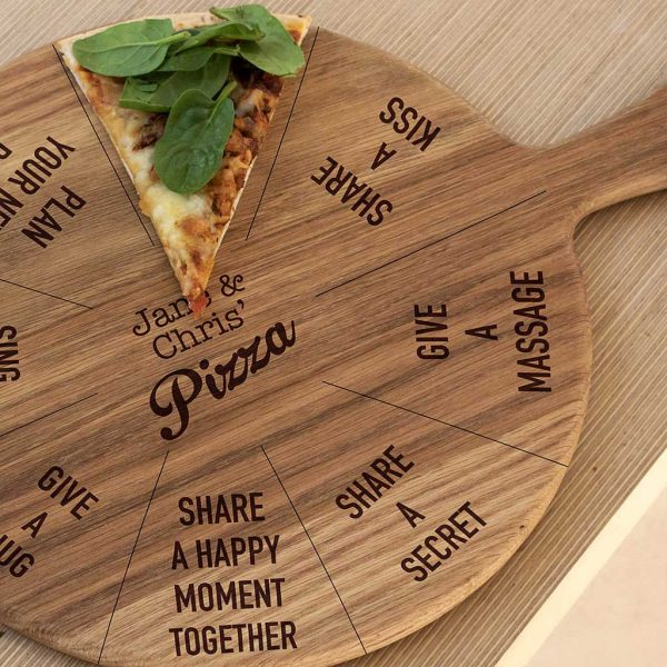 "Fun Romantic Personalised Pizza Board with your Two Names in the centre of 8 Romantic ""Dare"" Actions. 12 inch Oak Pizza Board with Handle & Jute Rope hanger."