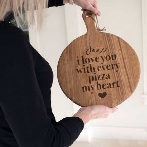 "Personalised ""Pizza My Heart"" Pizza Serving Board Paddle In Oak with handle for 12 inch pizza. Laser engraved perfect for Valentines Day or Birthday."