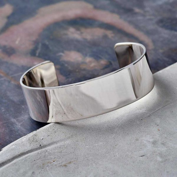 Personalised Ladies Silver Cuff Bracelet Bangle For Her. Silver Bracelet Engraved With Personal Message on Outside & Inside. Handmade Silver Ladies Gift For Her