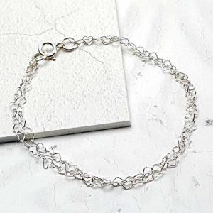 Silver Bracelet For Women. Elegant Double Stranded Sterling Silver Heart Bracelet For Her. Handmade Gift For Her Wedding, Valentine, Bride & Bridesmaid.