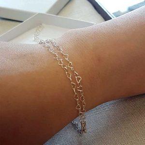 Silver Bracelet For Women. Elegant Double Stranded Sterling Silver Heart Bracelet For Her. Handmade Gift For Her Wedding, Valentine, Bride & Bridesmaid.