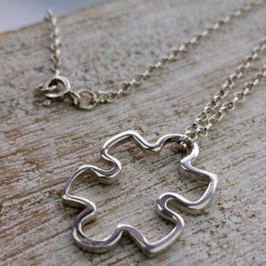 Silver Jigsaw Necklace on Silver Chain For Valentines Day, Bride, Bridesmaid, Mother & Mother Of The Bride Pendant Necklace. Jigsaw Necklace with Gift Wrapping.