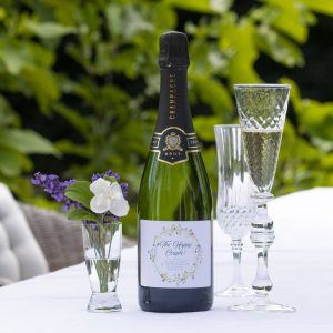Personalised Happy Couple Wedding Champagne Gift with Name & Personal Message on label. Genuine French Champagne with Personalised Label & Presentation Tube.
