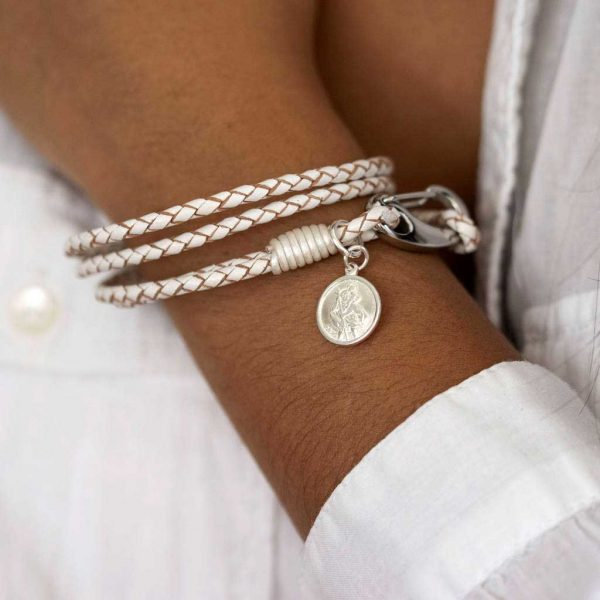 Personalised Silver St Christopher White Leather Wristband