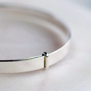 Polished Silver Baby Bangle Christening Bracelet