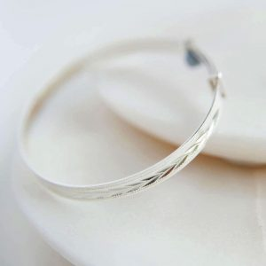 Silver Baby Bangle for New Baby and Christening in Personalised Gift Box