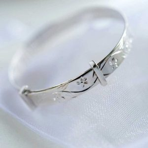 Silver Christening Baby Bangle with Floral Design in Personalised Gift Box