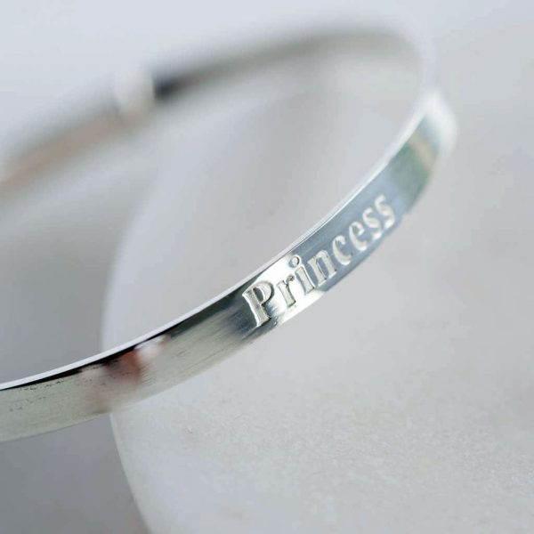 Sterling Silver Princess Baby Bangle in Personalised Gift Box