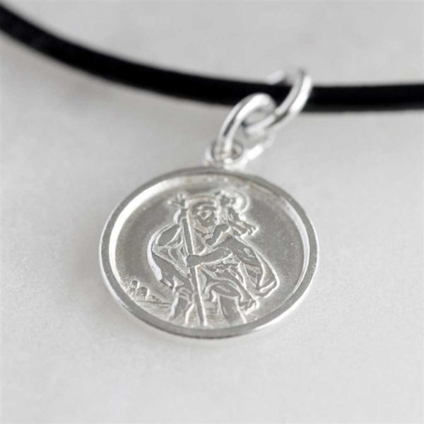 Personalised St Christopher Silver Pendant Leather Necklace