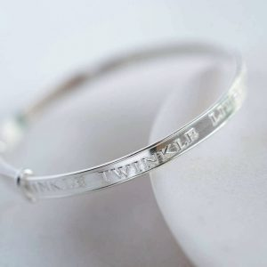 Twinkle Twinkle Little Star Silver Baby Bangle in Personalised Gift Box