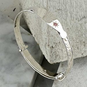 Personalised Childs Christening Bangle In Sterling Silver with Pink Gemstone & Engraving Plate