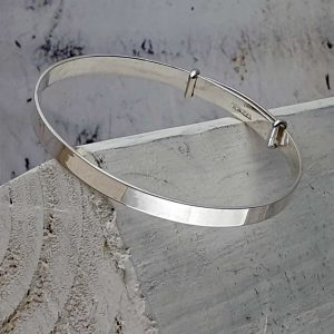 Personalised Christening Bangle In Polished Sterling Silver. Engraved Christening Bangle, Handmade Silver for New Born, Child, Godchild or Grandchildren.