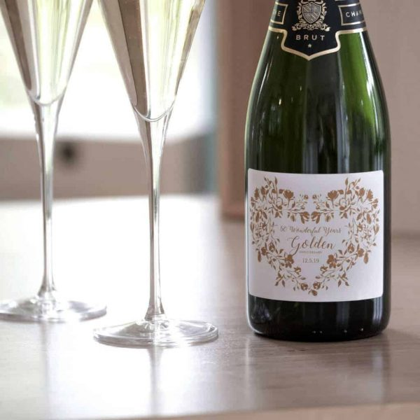 Golden Wedding Champagne & Personalised Glasses Gift Set