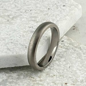 Personalised Men's Titanium Wedding Ring with Brushed Finish and Crisp Polished Edges & Inside. Made To Order Titanium Wedding Ring with Personalised Engraving.