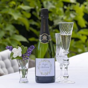 Personalised Bottle Of Anniversary Champagne with personal message printed on label. Anniversary Premium Champagne, Personalised Label & Presentation Tube.