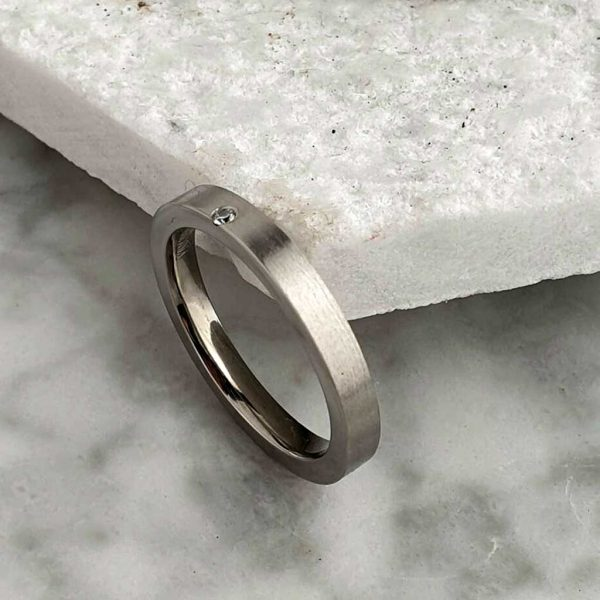 Personalised Ladies Diamond Set Titanium Wedding Ring with Brushed Finish and Polished Inside. 2mm Diamond Titanium Wedding Ring with Personalised Engraving.